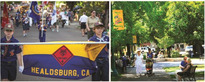 Photos of Healdsburg plaza and community members