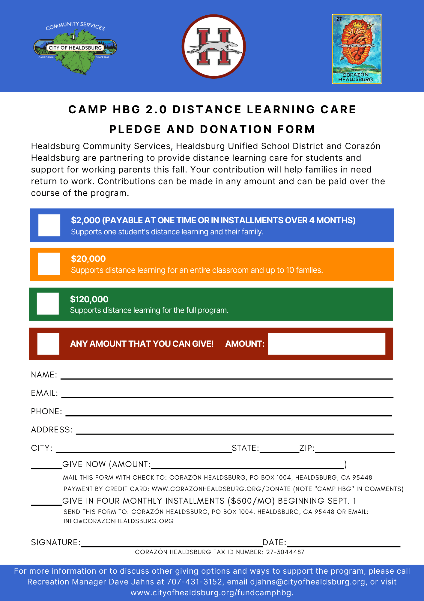 Camp HBG 2.0 Pledge and Donation Form