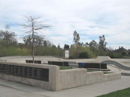 A cement skate park feature